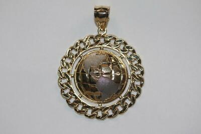 Fine 10K Yellow Gold White Gold Accents Large Round World Pendant Charm Dije White Gold Round Charm