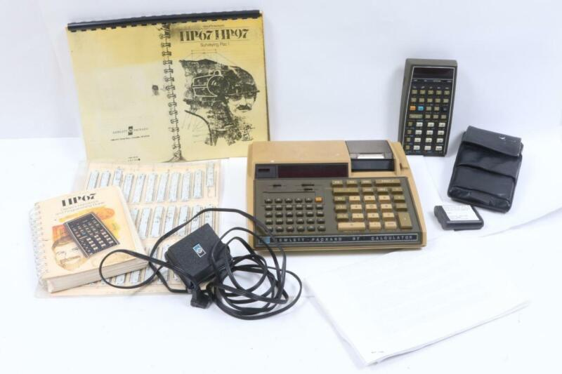 Vintage HP67/97 Programmable Calculators with Books, Plugs, Etc.