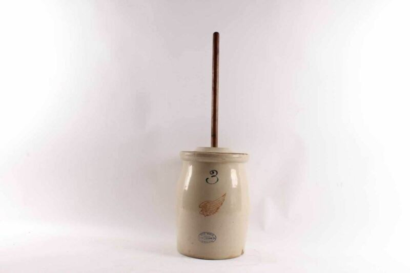 Antique Red Wing Union Stoneware Crock Three Gallon Churn & Wood Stomper