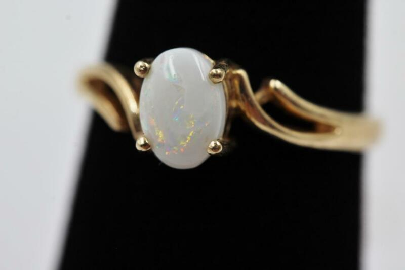 GORGEOUS ESTATE 10K SOLID YELLOW GOLD 1/2CT OVAL OPAL FANCY DESIGN SIZE 6 RING