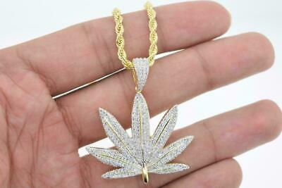 Mens 14k Gold Plated Hip Hop Micro Pave CZ Marijuana Pendant with Rope Chain