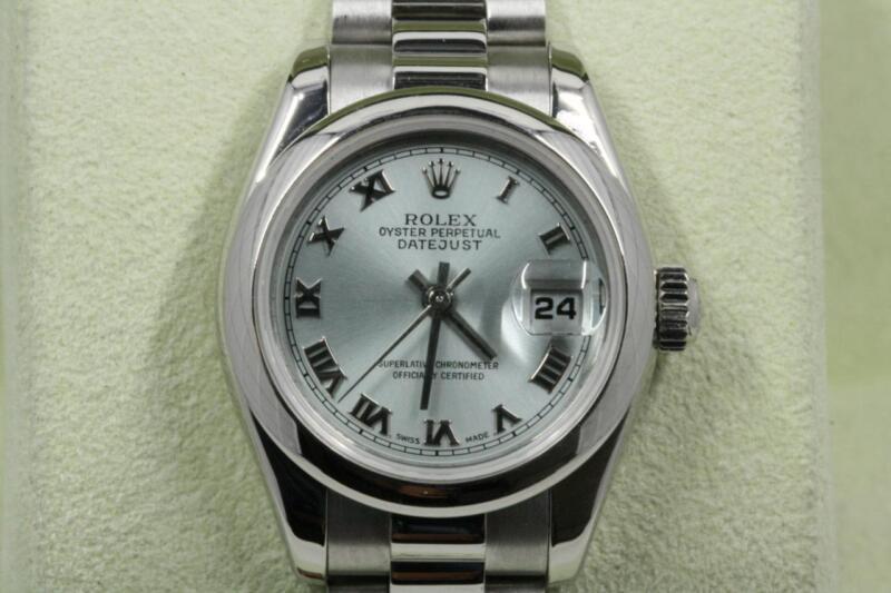 Rolex Ladydatejust 179166 Platinum Blue Glacier Dial 2003 Model