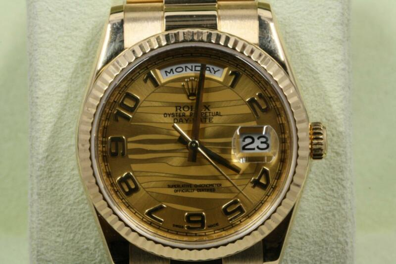 Rolex  Day-date 118238 Champagne Wave Arabic Numeral Dial 2010 Model