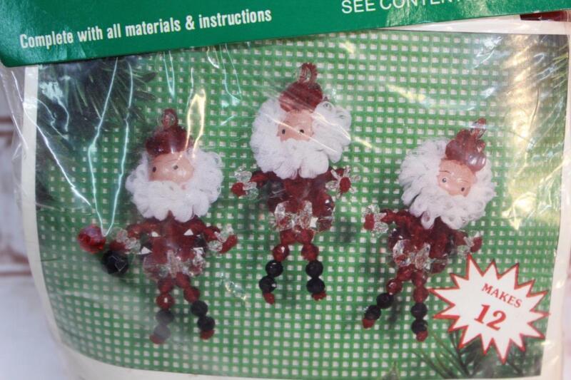 Vintage Merri Mac Beaded Christmas 12 Ornament Kit SANTA