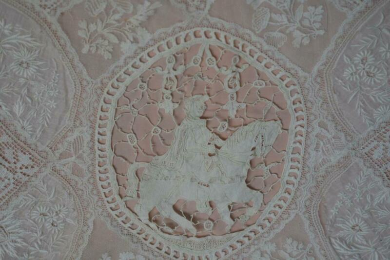 Antique Normandy Lace Figural Horse Large Embroider Doily Pink Crepe Silk Lined