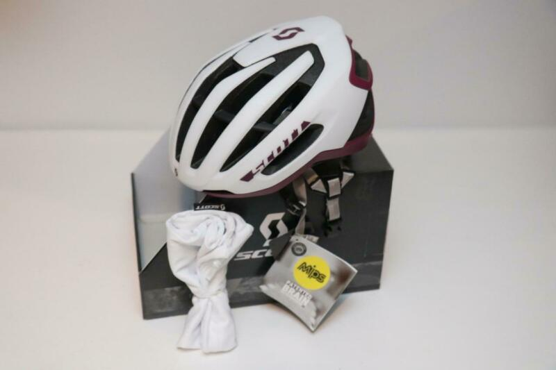 New Scott Fuga Plus MIPS Helmet Large Aero Road Bike White Purple Cycling