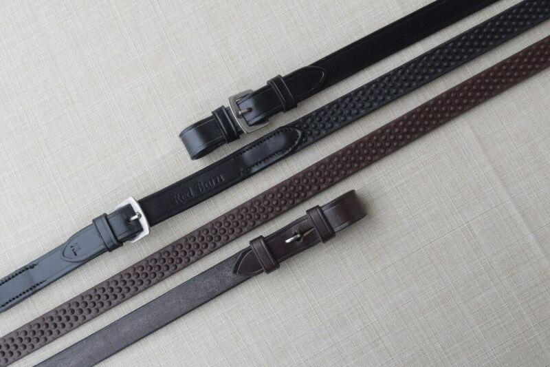 KL Select Black Oak Pebble Grip Reins with Buckle End - Black