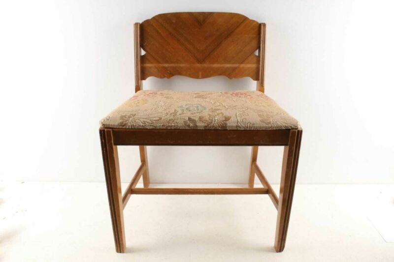 Vintage Vanity Dresser Bench Stool Wood & Upholstered Seat