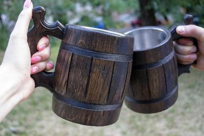 Beer Mug Set 2 Wooden German Mugs Coffee Tea Cup Barrel Oak