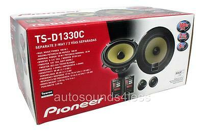 "PIONEER TS-D1330C 5.25"" 2-Way Component Speaker 5x7"" 6x8"" Adapter Plates 5-1/4"""