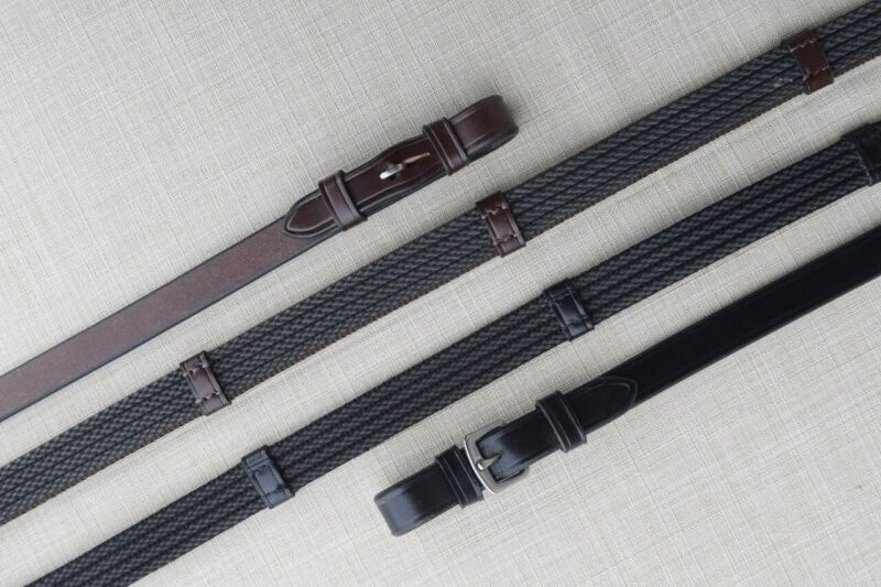KL Select Red Barn Special Grip Reins Buckle End with Stops - Black X-Long