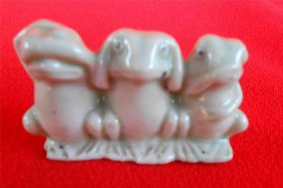 Hear No Evil Frogs - Frog Figurine ~ Porclain