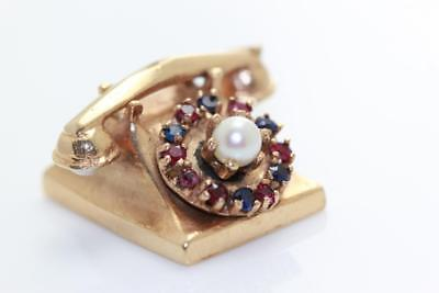 VINTAGE 14K GOLD 3D TELEPHONE CHARM GENUINE JEMS RUBY PEARL MOVE ()