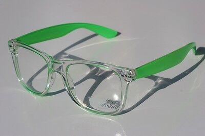 Clear NEON GREEN 80's Vintage Sun-glasses Nerd effect Retro Smart looking](Neon Green Sunglasses)