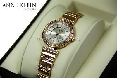 New Women Anne Klein New York Swarovski Crystal Gold Tone Watch 12/2258SVGB