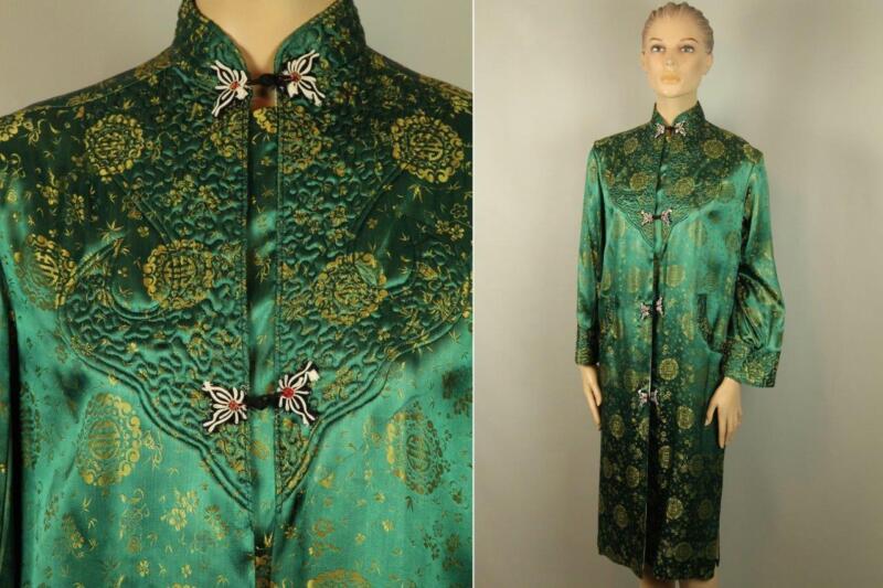 Vtg Old Antique Green Gold Silky Brocade Flower Blossom Coat Japanese Dress Robe