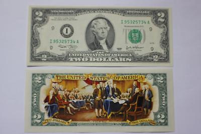 2003 Declaration Of Independence Us Colorized  2 Bank Note Unc Bill
