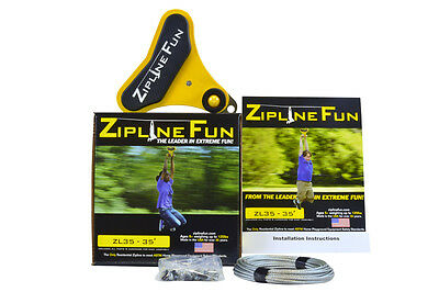ZL35 ZIPLINE FUN ORIGINAL Ride Zip Line Trolley 35' Playground Playset 30-3511](Zipline Fun)