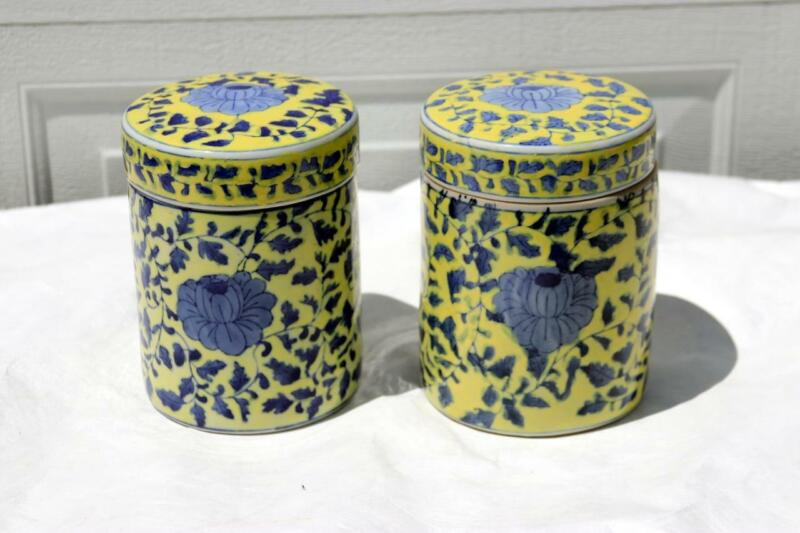 Antique Chinese Porcelain Jar Container Ground Yellow Qianlong makers mark