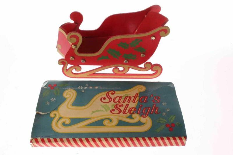 Vintage Wood Santa Sleigh Christmas Table Decoration & Box