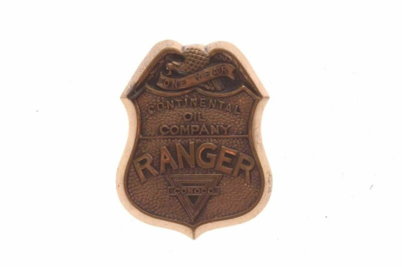 Rare Continental Oil Co. Conoco Ranger Brass Badge Maker Marked