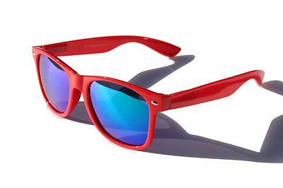 Rot mit Blau Spiegel Linse Hornbrille Retro Sonnenbrille Vingtage 24.4ms