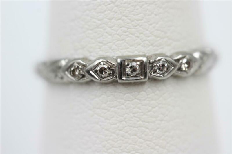 VINTAGE ESTATE 14K SOLID WHITE GOLD 5 AUTHENTIC OLD CUT DIAMONDS SIZE 7.25 BAND