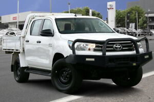 2017 Toyota Hilux GUN126R SR Double Cab Glacier White 6 Speed Sports Automatic Cab Chassis