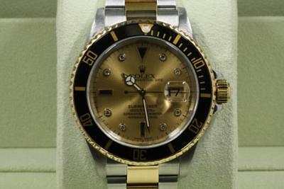 Rolex 16613 Steel & Gold Submariner Champagne Dial Gold Through Clasp 2004 Model