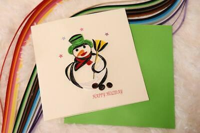 Snowman Handmade Quilling Christmas Card - Idea gift for everyone. ()