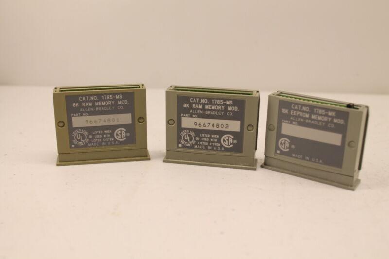 Allen Bradley Memory Modules (2) 8K 1785-MS (1) 16k 1785-MK (lot of 3)