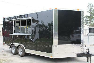 New 8.5 X 16 8.5x16 Enclosed Concession Food Vending Bbq Trailer W Equipment