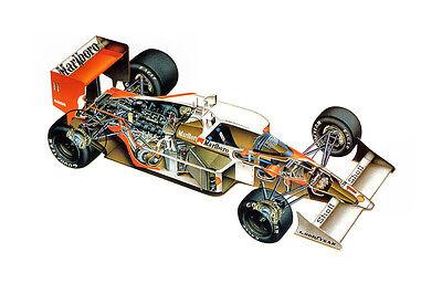 Used, MCLAREN HONDA MP4-4 FORMULA 1 F1 RACE CAR CUTAWAY POSTER PRINT 24x36 9 MIL for sale  Denver