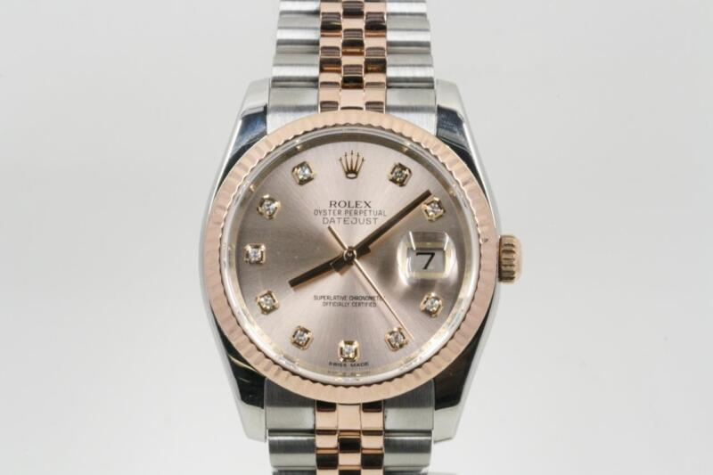 Rolex Datejust 116231 Steel & Gold Pink Champagne Diamond Dial Box & Booklets