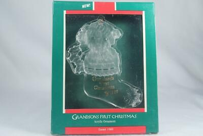 Hallmark Acrylic 'Grandson's First Christmas' Dated 1989 Ornament-New In -