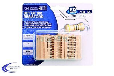 Widerstands Sortiment mit 610 Bauteilen -  1/4W E12 - 10 Ohm bis 1 MOhm Set -