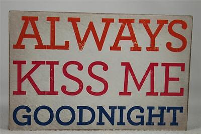 Wooden Word Block 'Always Kiss Me Goodnight' by About Face Designs Hang/Set NEW! (Word Blocks)