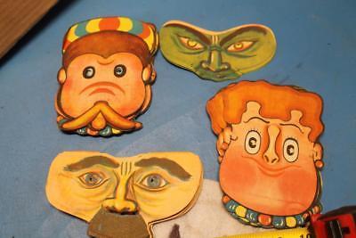 1950s Halloween Masks (VINTAGE LOT OF 4 OLD HALLOWEEN MASKS CARDBOARD 1950'S JAPAN NOVELTY BRAND)