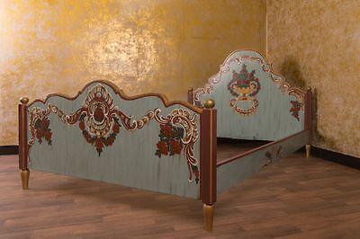 Landhaus Bett 140x200 cm Blau Schlafzimmer Landhausstil Antik Bauernmöbel Stil