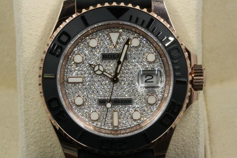 Rolex Yacht-master 116655 Pave Diamond Dial On Rubber Strap 2018 Model Unused