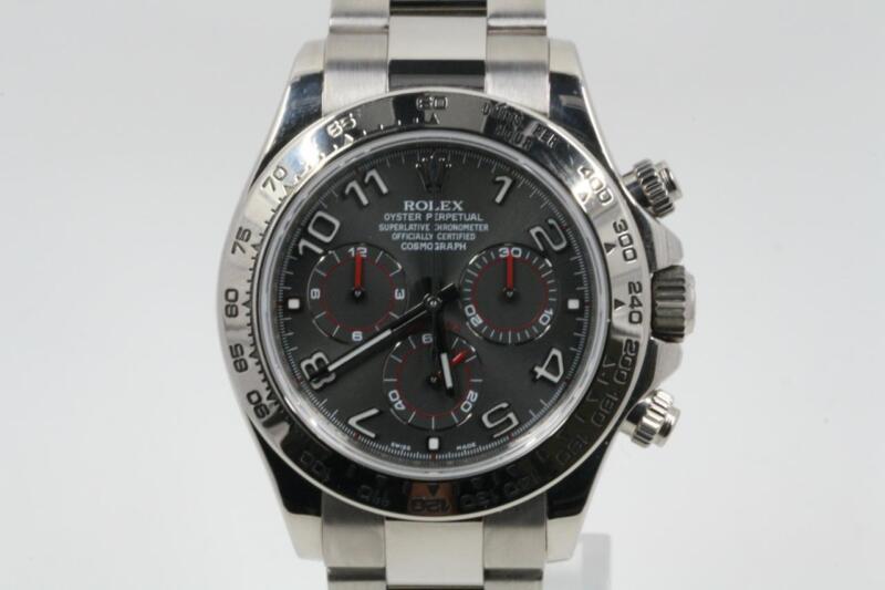 Rolex Daytona Model 116509 18k White Gold Watch With A Grey Arabic Numeral Dial
