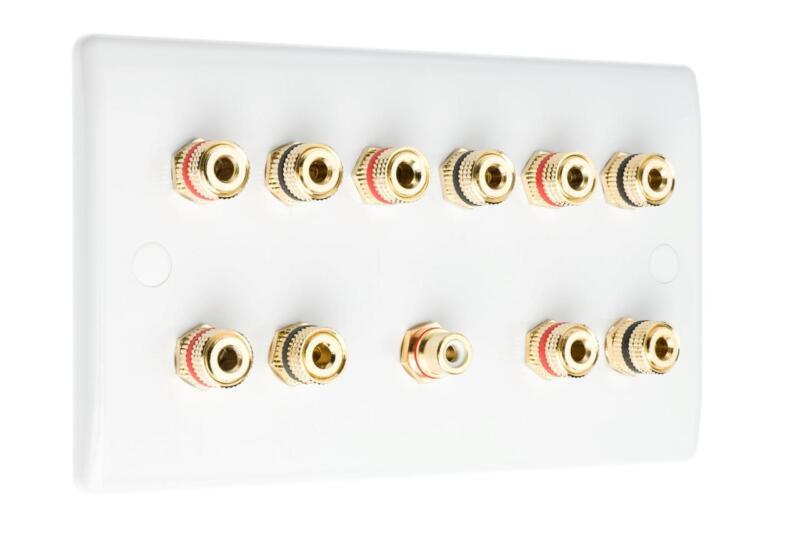 5.1 Slimline Audio AV Speaker Plate Gold 10 Binding Posts + 1 RCA NON SOLDER