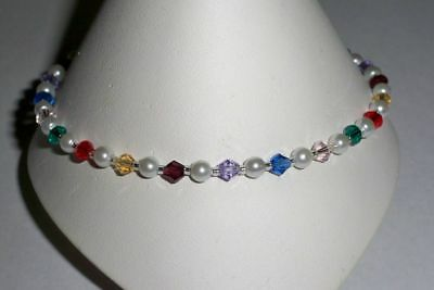 "Multi Color Swarovski Elements and White Pearls Anklet Bracelet - 9 1/2"""