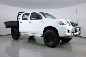 2014 Toyota Hilux KUN26R MY12 SR (4x4) White 5 Speed Manual Dual Cab Chassis