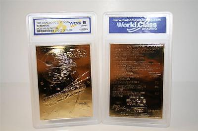 Star Wars MILLENNIUM FALCON 23KT Gold Card Sculpted #/10,000 Graded GEM MINT 10 Gold Sculpted Star