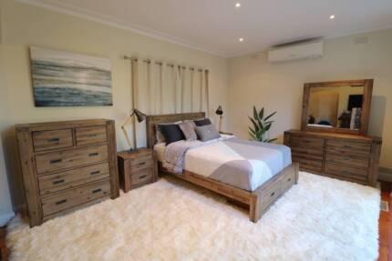 Hardwood Gold Dust Style 4pc Bedroom Suite (Queen/King) Brand New