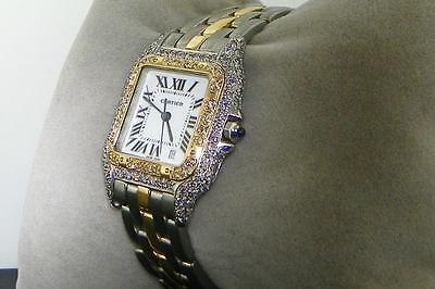 CARTIER UNISEX PANTHERE 18K AND S.S FULL CASE DIAMOND WATCH