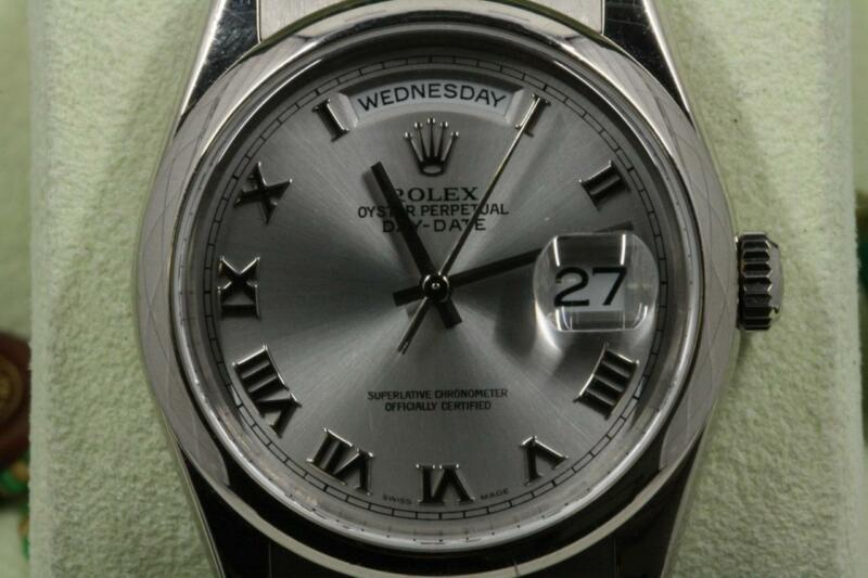 Rolex 36mm Day-date 118209 White Gold, Silver Roman Dial 2003 Model Box & Papers
