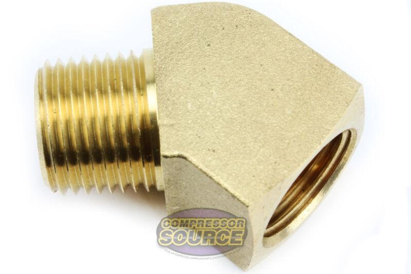 "Rapid Air 45 Degree 1/4"" NPT Pipe Thread Brass Street Elbow Fitting USA 50130"