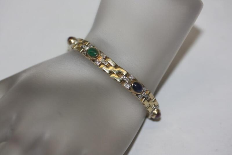 "14k Yellow Gold Ruby, Sapphire, Emerald Cabochon Diamonds Accent Bracelet - 7"""